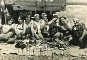 1960 Soviet Young Woman Bare Bikini Rest Truck Old Man Russian vtg photo