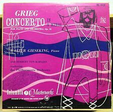 Walter Gieseking - Grieg Concerto For Piano LP VG ML 4431 Mono CBS Record 1951