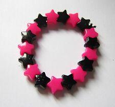 Kitsch Neon Rosa e Nero in Plastica Star cordoni Elastici Bracciale Retrò Emo Goth