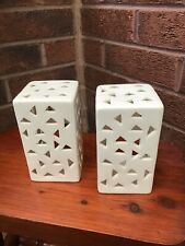 """PAIR OF CERAMIC TEA LIGHT HOLDERS WHITE CUT OUT DESIGN 5.5"""" TALL"""