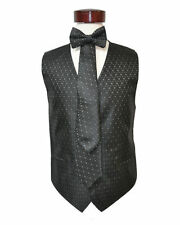 Men's black color with dotted white metallic dotted vest set  ( XL )