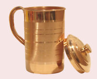 100% Copper Jug 1000 ML Water Storage Pitcher Indian Health Benefit Ayurveda Art