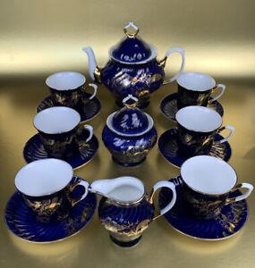 Porzellan Kaffeeservice; Apulum Fine Porcelaine; Echt Kobalt Vergoldet