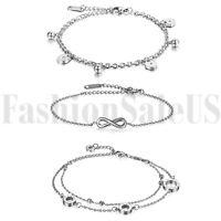 3pcs Women Stainless Steel Infinity Heart Lock Ball Charm Chain Bracelet Anklet