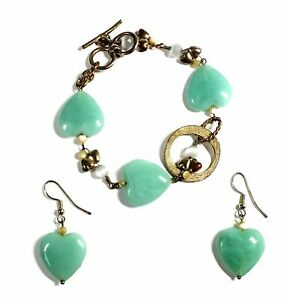 PAST TIMES PLATED Green Heart Glass Toggle Bracelet & Earring Set, 23.22g - P31