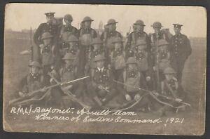Postcard RMLI Royal Marines Light Infantry bayonet team 1921 uniforms weapons RP
