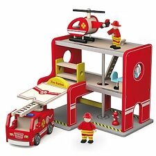 Viga Wooden Fire Station + Fire Engine + Helicopter