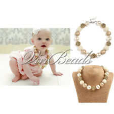 Gold Pearl Chunky Beads Bubblegum Gumball For Girl Kid Necklace Gift Dress Up