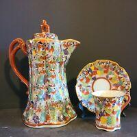 Antique Thousand Scholars Teacup And Saucer And Teapot