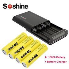 4PCS Soshine 3.7V 18650 3000mAh Li-ion Recgargeable Battery w/ Portable Charger