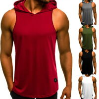 HOT Men Gym Sleeveless Top Vest Hoodie Bodybuilding Tank Top Muscle Hooded Shirt