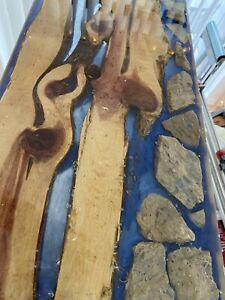 """Live Edge 'Submersed' Rock And Water Flow Bench. Stands 17"""" High"""