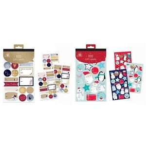 100 Contemporary & Cute Gift Labels Christmas Assorted Stickers Self Adhesive