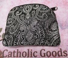 Black + Silver Brocade Zippered Rosary or Chaplet Case (lined)