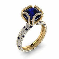 14k Yellow Gold Over 925 Sterling Silver Ring engagement 3ct blue cushion Studde