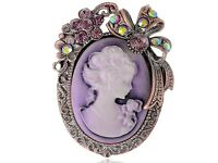 Purple Topaz Crystal Rhinestone Cameo Maiden Flower Ribbon Bow Pin Brooch Jewel