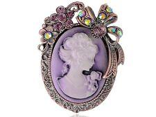Purple Topaz Crystal Rhinestone Cameo Maiden Flower Ribbon Bow Pin Brooch Jewel
