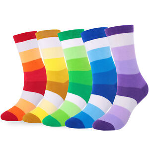 5 Pairs Mens Cotton Socks Lot Rainbow Color Gradient Stripe Casual Long Socks