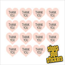 60 Thank You Pink Heart shape Stickers Labels Craft Wedding Favours diy thankyou