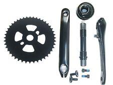 3 piece BMX CRANKSET WITH CONVERTER CONVERSION BOTTOM BRACKET BLACK STEEL axle