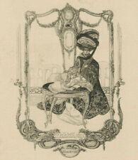 Franz von Bayros (A) 1866-1924 Erotica Exlibris Orceckovich Erotic Bookplate 180