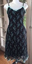 BETSEY JOHNSON Slip Dress  Women's 6  Black Lace Overlay  Grunge  Vintage Floral
