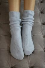 100% Pure Cashmere Bed Socks - Ladies - Luxury - Blue - UK 4-7
