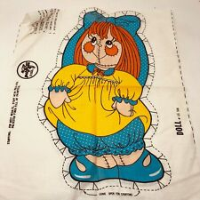 Cotton Fabric Panel cloth doll pillow Vtg 70s Polyfill rag girl
