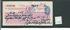 wbc. - CHEQUE - CH809 -  USED -1953/4 - WESTMINSTER BANK, ALTRINCHAM