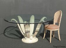 Vintage Mid Century Modern Off White Lily Flower Pedestal Dining Table