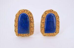 Vintage 22K Yellow Gold Lapiz Lazuli Ladies Earrings Fine Jewelry (YAE)