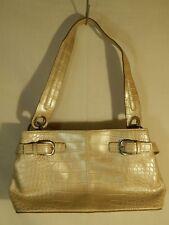 "Tommy Hilfiger Silver Beige Alligator Pattern Purse Handbag 12"" x 7"""