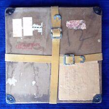 "Vintage Film Box Shipping w/ Straps & Buckles 13"" Square Metal Corners Hard Case"