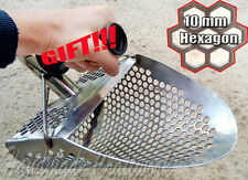 HEXAGON -10 Beach Sand Scoop Metal Detector Tool Stainless Steel + FREE HANDLE