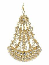UK  Indian Ethnic Bollywood Gold Pearl Forehead Passa Maang Tikka Bridal Jewelry