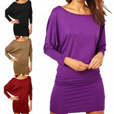 Womens Batwing Sleeve Tunic Dress Loose Evening Cocktail Party Solid Wrap Dress