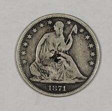 1871 S 50c Liberty Seated Half Dollar with Obverse Chop Mark