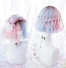Pink+Blue Gradient Sweet Harajuku Kawaii Lolita Dolly Short Curly Hair Wigs #23