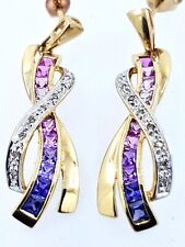 9k synthetic Pink/Purple stones and Diamond EARRINGS_375 yellow gold