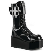 Demonia PETROL-150 Men's Black Goth Punk Rave Costume Platform Mid-Calf Boots
