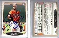 L.J. Hoes Signed 2013 Bowman #128 Card Baltimore Orioles Auto Autograph