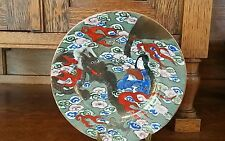 Japanese Satsuma Moriage Porcelain Plate, Dragon- Clouds - Maiden - Gold - 7.25""