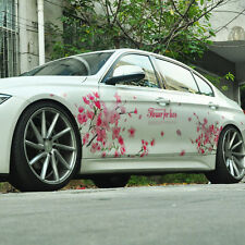 A Pair Pink Sakura Flower For Love Car Sticker Auto Cherry Blossom Decal Emblem