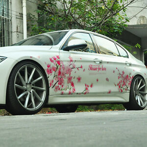A Pair Pink Sakura Flower For Love Car Sticker Auto Cherry Blossom Decal Emblem