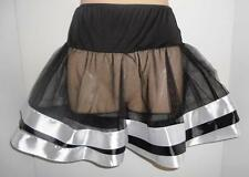 LA Satin Ribbon Black WhiteSexy Petticoat Skirt Tutu S/M 10