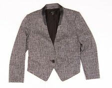 Womens Ann Taylor Tweed Leather Trimmed Collarless Blazer Jacket Size 2