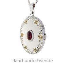 Vintage Silber Granat Medaillon Anhänger Kette Blumen vergoldet silver 🍀🍀🍀