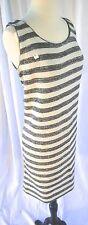 Deadstock New Vintage Geistex Gray & White Striped Stretch Sweater Dress M / L
