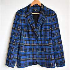 Blue Plaid Blazer Jacket Sz M 10 Venima City Lisa Romanyuk Russian Designer Punk