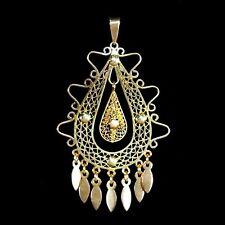 Stunning large handmade Arts & Crafts gold filigree pendant with dangles M-F